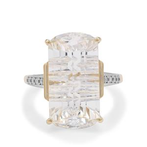 Lehrer Matrix Cut Optic Quartz Ring with Diamond in 9K Gold 11.10cts