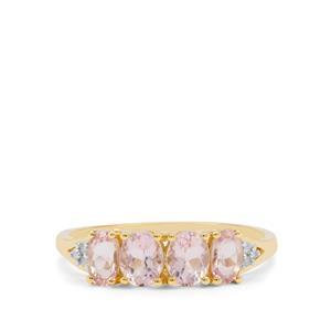 Cherry Blossom Morganite & Diamond 9K Gold Ring ATGW 1.05cts
