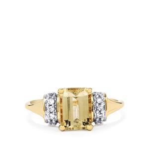 Champagne Danburite & White Sapphire 9K Gold Ring ATGW 1.77cts