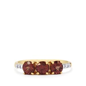 Bekily Colour Change Garnet Ring with White Zircon in 9K Gold 1.48cts