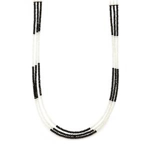 Black Spinel & White Topaz Sterling Silver 3 Row Bead Necklace ATGW 53cts