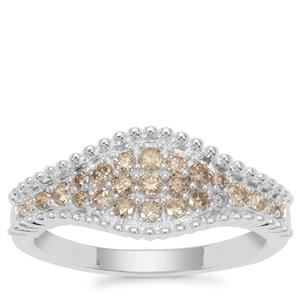 Champagne Diamond Ring in Sterling Silver 0.53ct