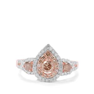 1ct Champagne & White Diamond 9K Rose Gold Ring