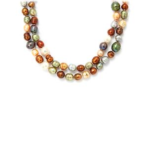 Metallic Freshwater Cultured Pearl Necklace (36 Inches)