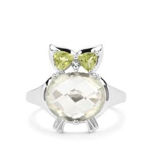 Prasiolite & Changbai Peridot Sterling Silver Ring ATGW 4.39cts