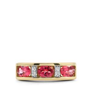 Mahnege Red Spinel Ring with White Zircon in 10K Gold 1.22cts