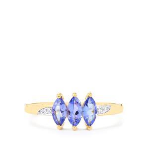 AA Tanzanite & Ceylon White Sapphire 10K Gold Ring ATGW 0.77cts