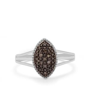 Champagne Diamond Ring in Sterling Silver 0.05ct