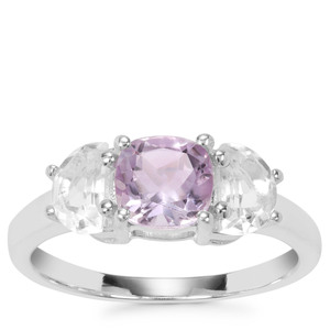 Rose De France Amethyst Ring with White Quartz in Sterling Silver 1.90cts