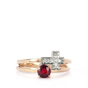 Burmese Red Spinel & White Zircon 9K Gold Set of 2 Stacker Rings ATGW 0.36cts