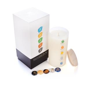 Feng Shui Candle, Sage Fragrance with Five Element Gemstones ATGW 171cts