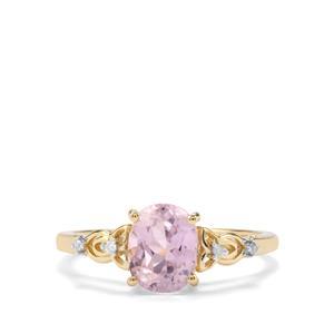 Mawi Kunzite & Diamond 10K Gold Ring ATGW 1.85cts