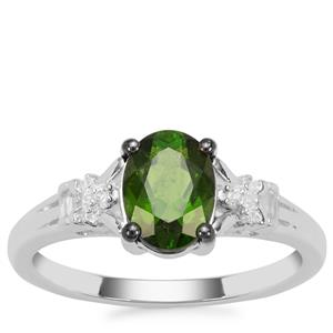 Chrome Diopside Ring with White Zircon in Sterling Silver 1.47cts
