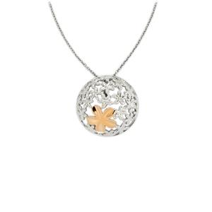 Two Tone Gold Plated Sterling Silver Pendant Necklace