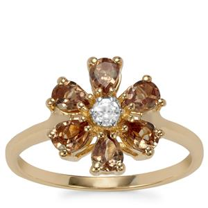 Tsivory Colour Change Garnet Ring with White Zircon in 9K Gold 1.29cts