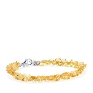 37ct Diamantina Citrine Sterling Silver Bead Bracelet