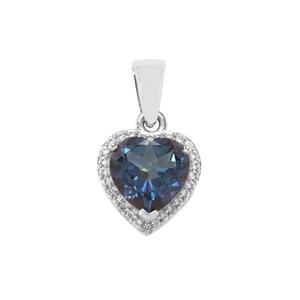 Hope Topaz Pendant with White Zircon in Sterling Silver 3.29cts