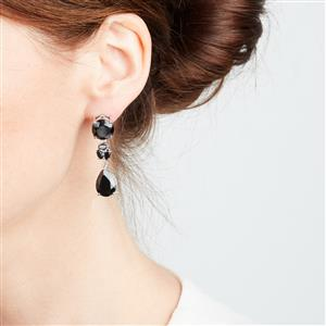 Black Spinel Earrings in Sterling Silver 27.67cts