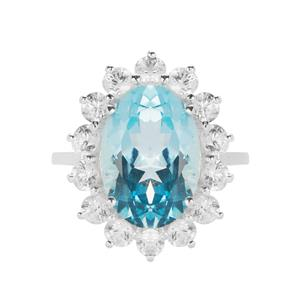 Sky Blue Topaz Ring with White Zircon in Sterling Silver 9.76cts