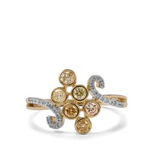 Natural Coloured Diamond Ring with White Diamond in 10K Gold 0.51ct
