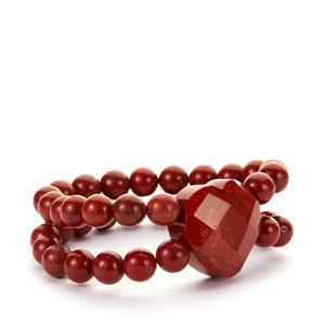 355ct Red Jasper Elastic Heart Bracelet