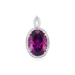 Moroccan Amethyst Pendant with Diamond in 18k Gold 10.44cts