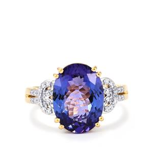 AAA Tanzanite Ring with Diamond in 18k Gold 5.47cts