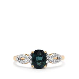 Nigerian Sapphire Ring with Diamond in 18K Gold 1.28cts