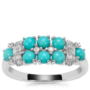 Sleeping Beauty Turquoise Ring with White Topaz in Sterling Silver 1.08cts