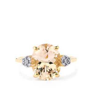 Mutala Morganite Ring with White Zircon in 9K Gold 3.06cts