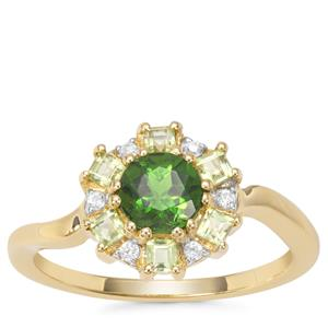 Chrome Diopside, Peridot Ring with White Zircon in 9K Gold 1.16cts