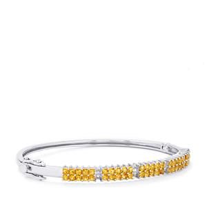 Yellow Tourmaline Oval Bangle with White Topaz in Sterling Silver 2.27cts