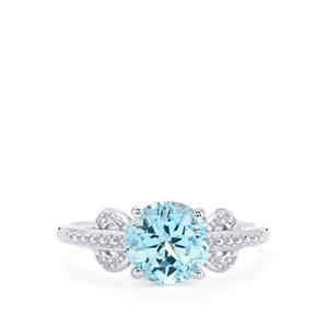2.67ct Sky Blue & White Topaz Sterling Silver Lone Star Ring