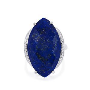 24ct Sar-i-Sang Lapis Lazuli Sterling Silver Ring