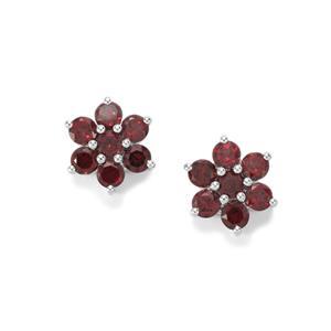 3.33ct Rhodolite Garnet Sterling Silver Earrings