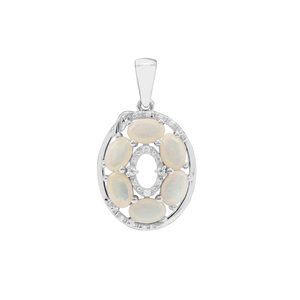 Coober Pedy Opal & White Zircon Sterling Silver Pendant ATGW 1.52cts