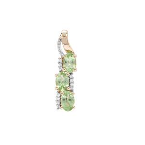 Tsavorite Garnet Pendant with Diamond in 9K Gold 1.46cts