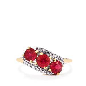Cruzeiro Rubellite Ring with Diamond in 10K Gold 1.10cts