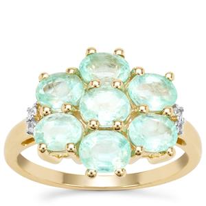 Siberian Emerald Ring with White Zircon in 9K Gold 2.53cts