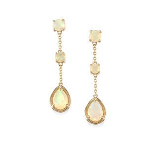 Ethiopian Opal Earrings in 10K Gold 1.35cts