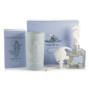 Ocean Collection - Ceramics Room Diffuser and Blue Scented Candle with Carved Rose Quartz Mermaid
