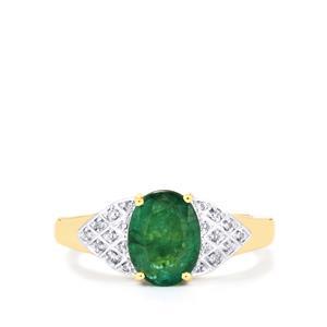 Minas Gerais Emerald & Diamond 18K Gold Tomas Rae Ring MTGW 1.63cts