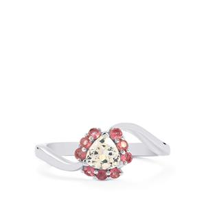 Ice Kunzite Ring with Pink Tourmaline in Sterling Silver 0.80cts