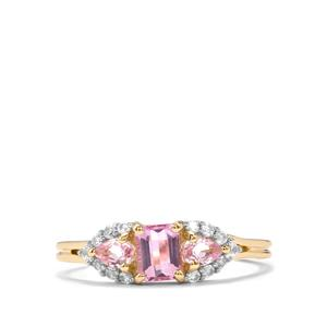 Imperial Pink Topaz & White Zircon 9K Gold Ring ATGW 1cts
