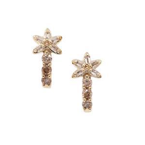 Champagne Diamond Earrings in 9K Gold 0.26ct