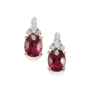 Comeria Garnet Earrings with Diamond in 18K Gold 4.21cts