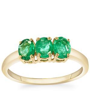 0.93ct Zambian Emerald 9K Gold Ring