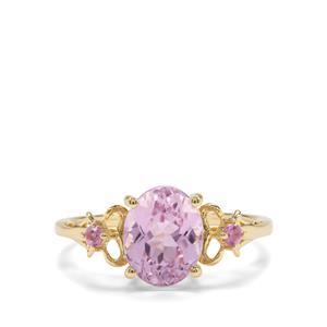 Kolum Kunzite & Pink Sapphire 9K Gold Ring ATGW 2.74cts
