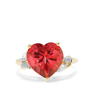 Cruzeiro Topaz & White Zircon 9K Gold Heart Ring ATGW 5.78cts