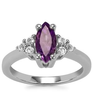 Kenyan Amethyst Ring with White Topaz in Sterling Silver 1.16cts